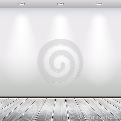 Empty Interior With White Wall And Lights Vector Stock Vector - Image: 57400728