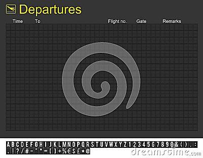 Empty International Airport Departures Board