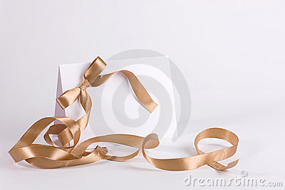 Empty invite with golden ribbon