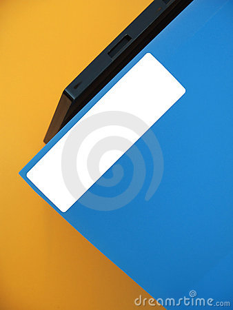 Empty Label on Blue Folder