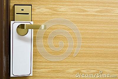 Empty label on the door handle
