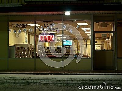 Empty laundromat at night Editorial Stock Photo