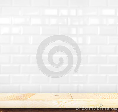 Free Empty Light Wood Table And White Ceramic Tile Brick Wall In Back Royalty Free Stock Photography - 58283337