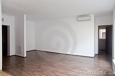 Empty living in new apartment