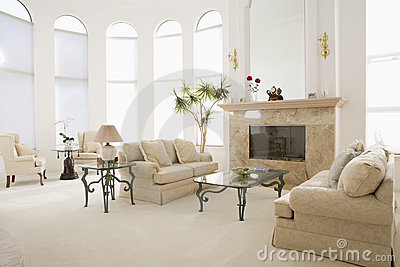 Empty living room in luxurious home