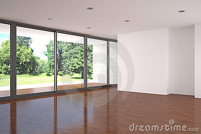 Empty living room with parquet floor