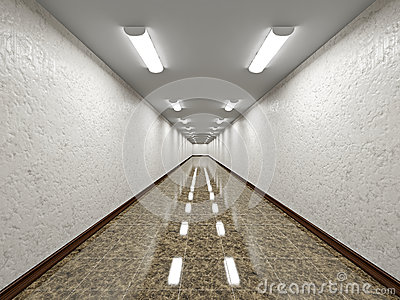 The empty long corridor