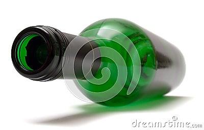 Empty Lying Wine Bottle