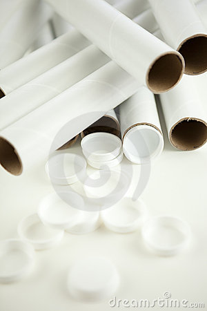 Empty mailing tubes and caps