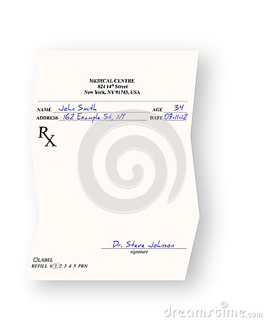 Empty medical prescription  on white