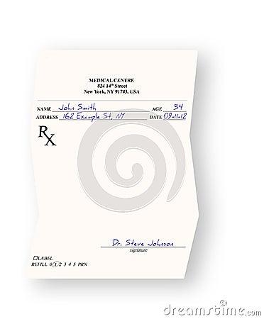 Empty medical prescription  on white