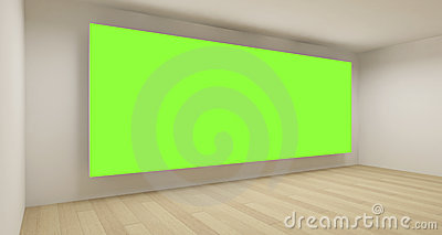 Empty medical room with green chroma key