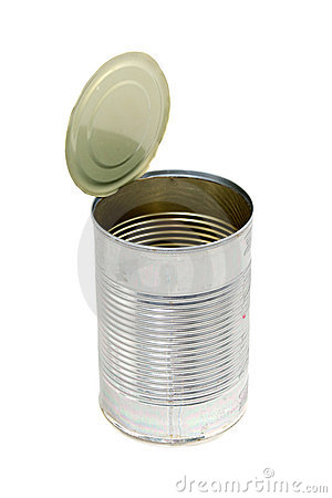 Empty metal food can