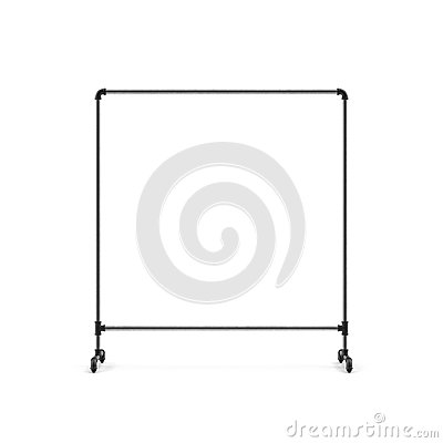 Free Empty Metall Clothing Display Rack On White. 3D Illustration Royalty Free Stock Image - 110704536