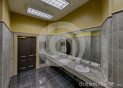 Empty modern restroom