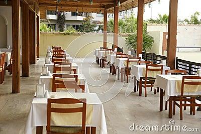 Empty morning restaurant