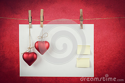Empty note for valentine message