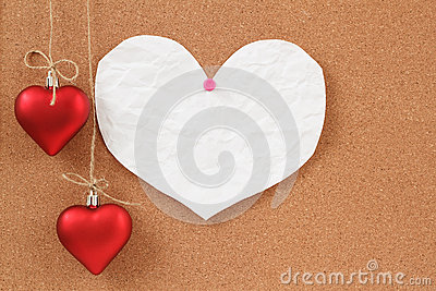 Empty note for valentine message