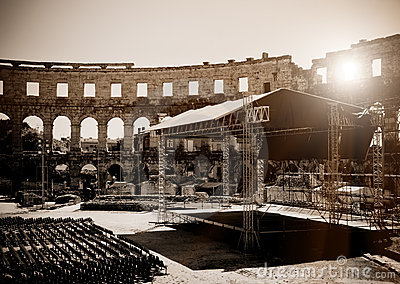 Empty open air stage in ancient theater
