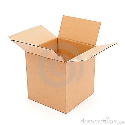 Empty, open cardboard box