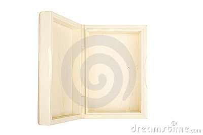 Empty open wooden box isolated on a white.