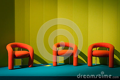 Empty orange chairs at Host 2013 in Milan, Italy Editorial Photo