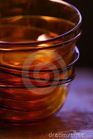 Empty orange glass bowls