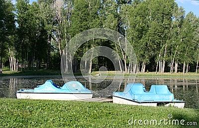 Empty paddle boats