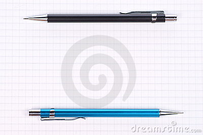 Empty page black, blue pencil
