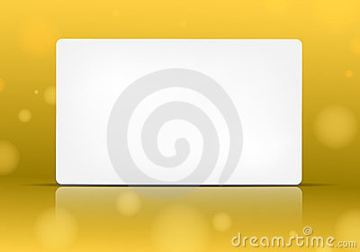 Empty paper card on yellow background