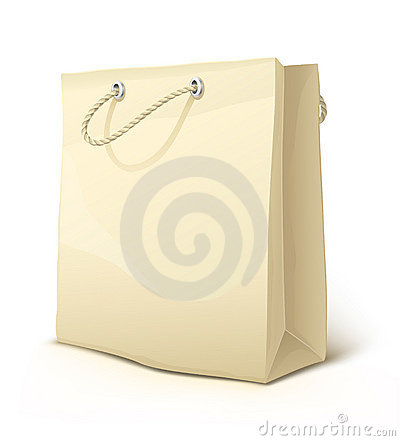 Free Empty Paper Shopping Bag With Handles Isolated Royalty Free Stock Images - 7705049