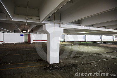 Empty parking lot at a shopping mall