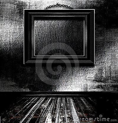 Details of empty picture frame on wall in dark black and white gloomy    Empty Picture Frame On Wall