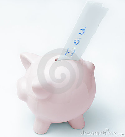 Empty Piggy Bank with IOU