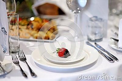 Empty place card on a festive table
