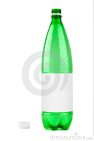 Empty plastic bottle with blank label