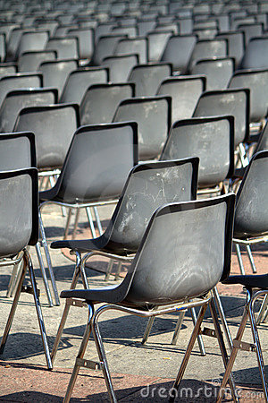 Empty plastic chairs
