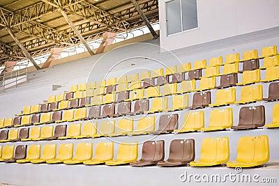 Empty plastic stadium seats