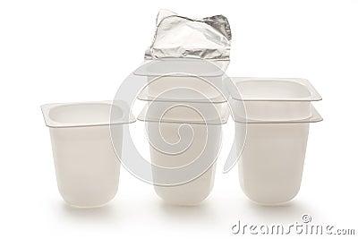 Empty Plastic Yogurt Pots Stock Photo - Image: 74086965