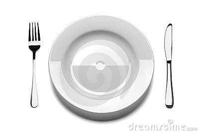 Empty plate with fork and knife.