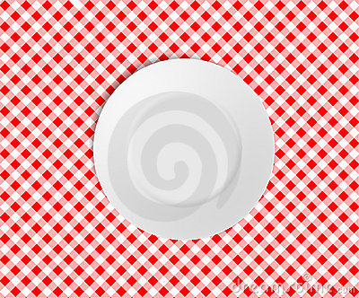 Empty plate on a red checked tablecloth
