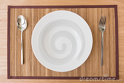 Empty plate spoon and fork on mat