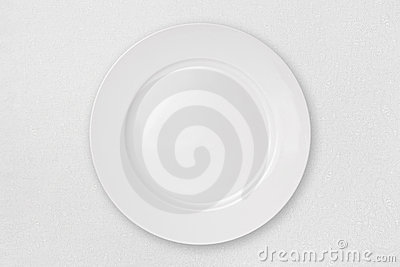 Empty Plate on a White Tablecloth (with clipping p
