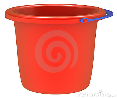 Empty red bucket .