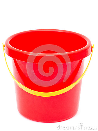 Empty red bucket