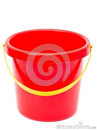 Empty red bucket