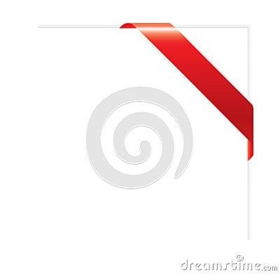 Empty red corner ribbon