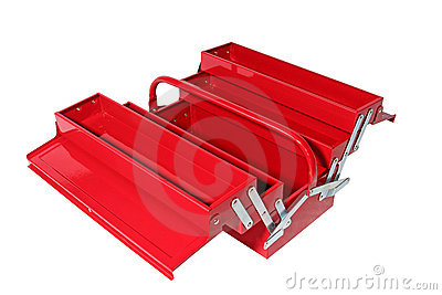 Empty red toolbox