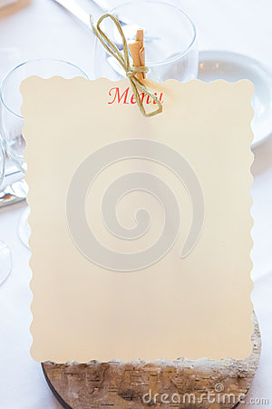 Empty restaurant menu