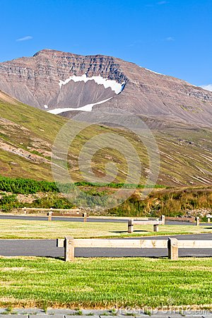 Empty resting area at Iceland roadside